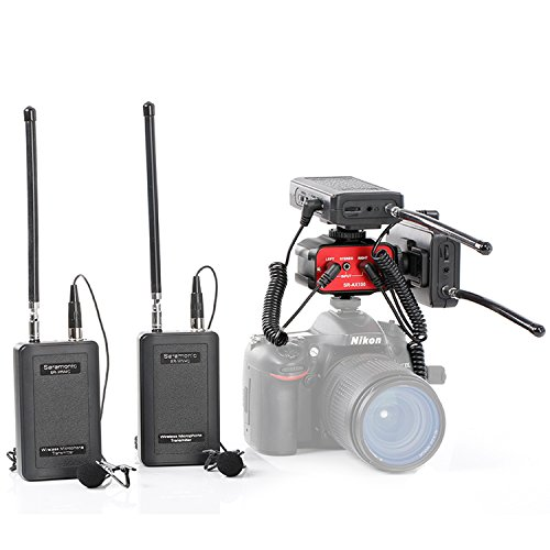 Saramonic SR-WM4C DSLR Bundle Wireless Lavalier Microphone System Two Transmitters and Two Receivers with Saramonic Audio Mixer SR-AX100 for Interviewing DSLR Camera Camcorders by Saramonic