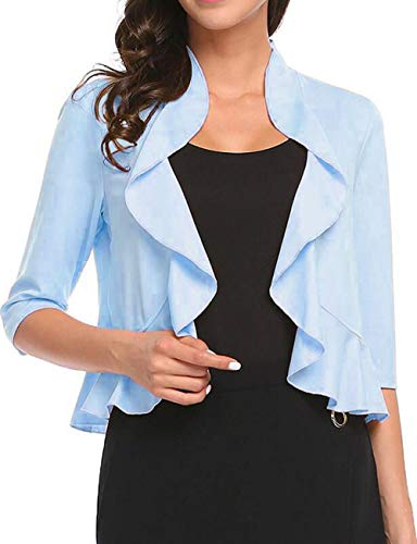 Evening Dress With Bolero Jacket - Women's Open Front Cropped Cardigan 3/4 Sleeve Casual Shrugs Jacket Draped Ruffles Lightweight Sweaters (Sky Blue, XX-Large)