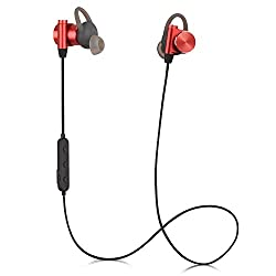 Charmast Bluetooth in Ear Headphones Wireless Earphones Magnetic Earbubs IPX7 Waterproof Noise-Cancelling Sports APTX for Running Exercise Gym (cm-7 Pro Redheat)