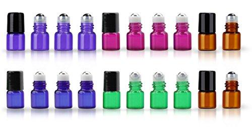 ZbFwmx 20 Pack Set 1ML (1/4 Dram) Mini Sample Roll Glass Bottles for Essential Oils Roller Refillable Perfume Roll Bottle (Multi)