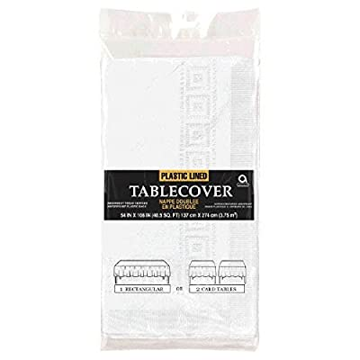 """Amscan 57115.08 3-Ply Paper White Table Cover, 54"""" x 108"""": Kitchen & Dining"""