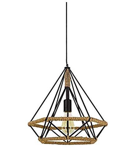 QiXian Night Light Wall Lamp Led Lamp Retro Diamond Hemp Rope Pendant Light E27 Hanging Lamp Vintage Industrial Black Light Fixture for Restaurant Kitchen-45Cm for Kitchen Bedroom Living Room ()