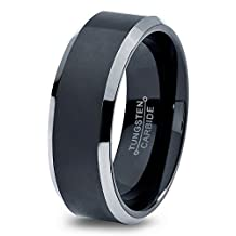 Tungsten Wedding Band Ring 8mm for Men Women Comfort Fit Black Beveled Edge Brushed Lifetime Guarantee