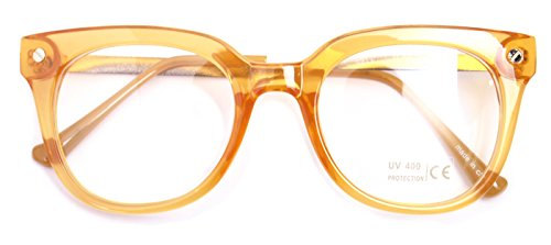Classic Round Horn Rimmed Eye Glasses Clear Lens Oval Non Prescription Frame (Orange 89137, Clear) (22 Orange Glass)