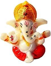 "2.5"" Mini Lord Ganesh/Ganpati Poly Marble Idol. Hindu God of Success (Red). Small Ganesha Statue"