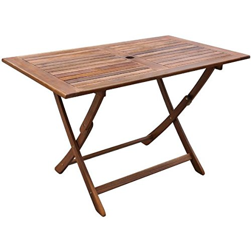 SKB Family Outdoor Dining Table Acacia Wood Patio Picnic Camping Foldable by SKB Family