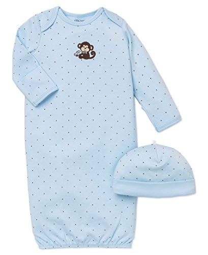 Little Me Baby Boys' Gown and Hat, Light Blue Dot, 0-3 Months
