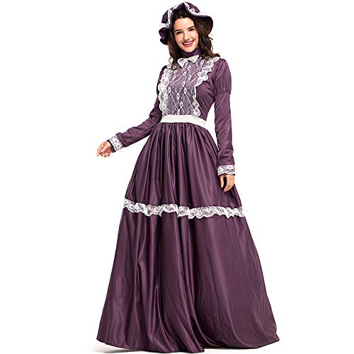 DENTRUN Women Retro Court Medieval Costume Court Party Costume Victorian Gothic Gown