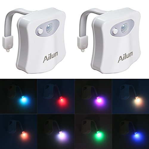 Toilet Night Light[2Pack]by Ailun,Motion Activated LED Light,8 Colors Changing Toilet Bowl Nightlight for Bathroom[Battery Not Included] Perfect Decorating Combination Along with Water Faucet Light by Ailun (Image #7)
