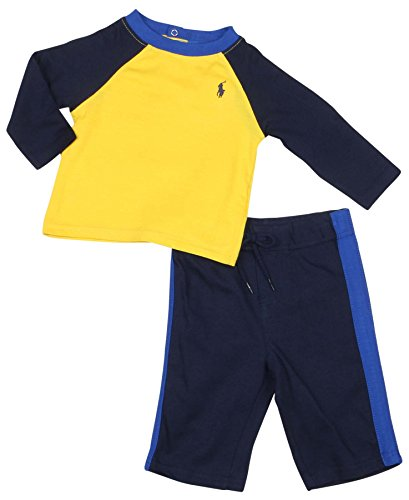 - Polo Ralph Lauren Infant Boys' (3M-24M) Baseball Set-Yellow/Navy Blue-Newborn