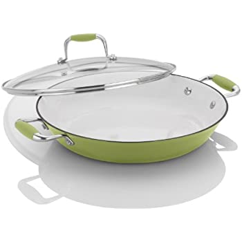 Michelle B. by Fagor Cast Iron Lite Chef's Pan with Lid, Lemon Lime, 12""
