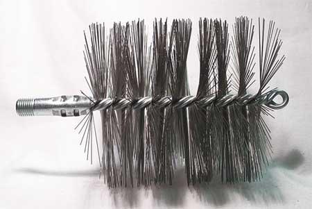 Flue Brush, Dia 4-1/2, 1/4 MNPT, 7-1/2 In L Dia Flue Brushes