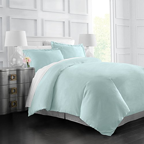 Aqua King Duvet - Italian Luxury Soft Brushed 1500 Series Microfiber Duvet Cover Set - Hotel Quality & Hypoallergenic with Zippered Closure & Matching Shams - King/California King - Aqua