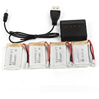 4PCS Battery for Drone, Emubody 800mAh Lipo Battery (4PCS) with 4 in 1 Charger For x5c x5sw x5 L15 Drone