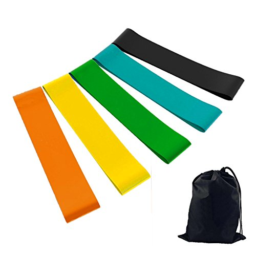 Resistance Bands Set of 5 Exercise Loops 12 inch Workout Bands for Home Fitness Streching, Physical Therapy 4-35lbs Band with Carry Bag