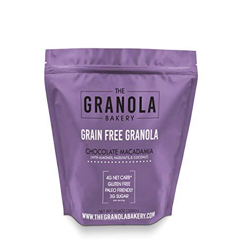 ELAN Dark Chocolate Macadamia Granola, Keto Dessert, Low Net Carb Fat Bomb Snack, Low Fodmap Diet Cereal, Organic Paleo Breakfast Food (10.6 Oz Travel Bag)
