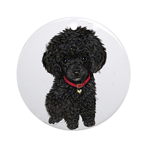CafePress Poodle Pup (Blk) Ornament (Round) Round Holiday Christmas Ornament