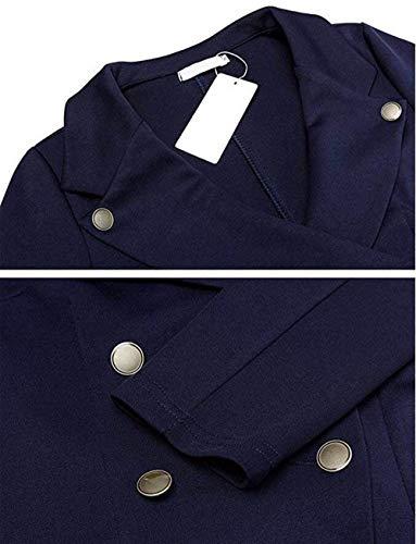 Manica Tempo Eleganti Vintage Sottile Libero Business Bavero Breasted Classiche Camicia Double Marine Tailleur Donna Chic Corto Lunga Fashion Autunno Giacca Da Cappotto Blazer qw7WZzp