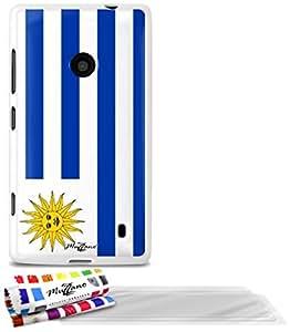 """Carcasa Flexible Ultra-Slim NOKIA LUMIA 520 de exclusivo motivo [Bandera Uruguay] [Blanca] de MUZZANO  + 3 Pelliculas de Pantalla """"UltraClear"""" + ESTILETE y PAÑO MUZZANO REGALADOS - La Protección Antigolpes ULTIMA, ELEGANTE Y DURADERA para su NOKIA LUMIA 520"""