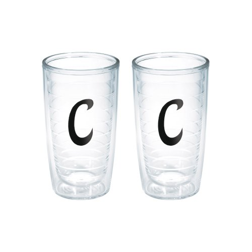 (Tervis Tumbler with Decorative Black Twill Letter-C, 16-Ounce, 2-Pack)
