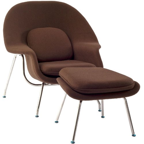 Modway Eero Saarinen Style Womb Chair and Ottoman Set in (Molded Fiberglass Lounge Chair)
