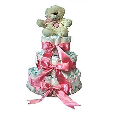 Tarta de pañales niña Dodot - Oso Corazón 3 pisos rosa - Mil Cestas: Amazon.es: Bebé