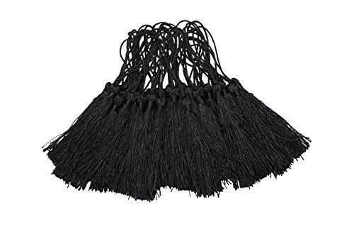 I-MART 100 Pcs 5 Inches Silky Tassels for Handmade Jewelry Making, Bookmarks and DIY Projects (Black)