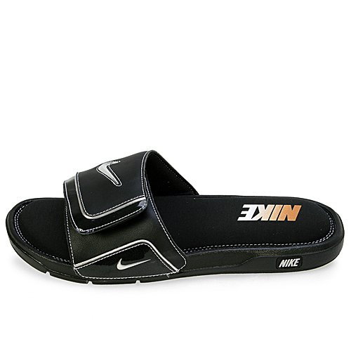 NIKE Men's Comfort Slide 2 Sandals, Black/Metallic (Nike Lightweight Sandals)