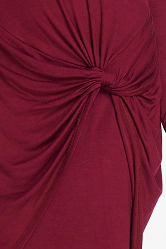 D5090 Sleeve Mock Women Cocktail s Knot Burgundy Front Neck Dress Long qFaga1z4w
