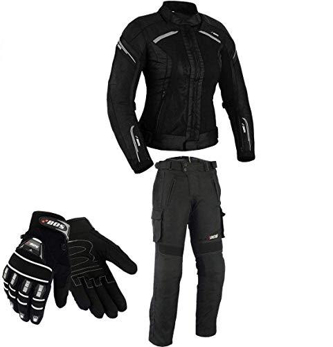 DAMEN MOTORRADKOMBI JACKE + HOSE + HANDSCHUHEN – BIKE MOTORRAD ROCKER TOURING in verschiedenen farben (XL, Schwarz)