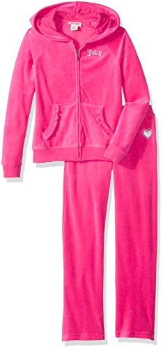 Juicy Couture Girls' Big' 2 Pieces Jog Set - Velour, Assorted, ()