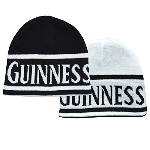 (Guinness Reversible Black And White Beanie Hat With Guinness Text )