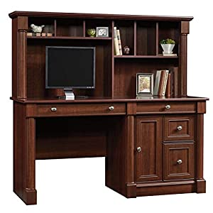 Bowery Hill Home Office Computer Desk with Hutch, CPU Storage, Letter Size File Hanging Drawer in Cherry