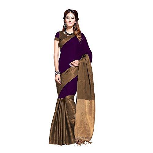 Aura Festive Party Wear Purple Superfine Mercerized Cotton saree - Aryaa Wine