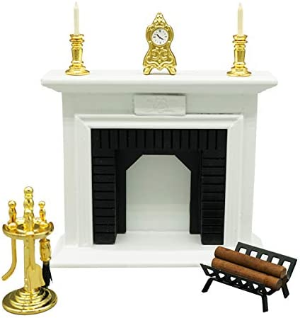 SAMCAMI Dollhouse Furniture Living Room Fireplace Set (6 pcs) – 1 12 Scale Miniature Dollhouse Wooden Accessories