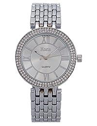 Kteta Women'S KA6002 Alloy Bracelet Quartz Watches Luxury Crystal Wristwatches Silver