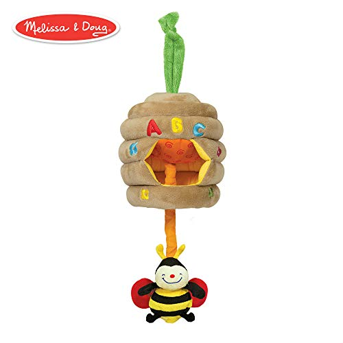 Melissa & Doug K's Kids Musical Pull Beehive - Crinkling, Soft-to-Touch Crib Toy (Beehive Spring)