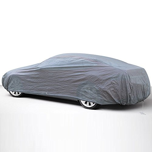 - OxGord Car Cover - 1 Layer RainDustSand Exterior Protector - Ready-Fit Semi Glove Fit - Gray Fits up to 204 Inches