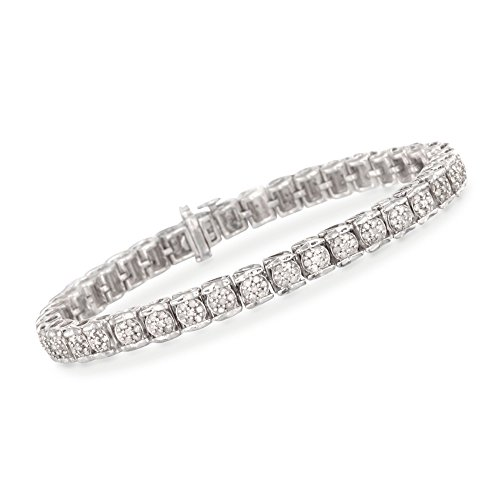 Ross-Simons 2.00 ct. t.w. Diamond Cluster Tennis Bracelet in Sterling Silver