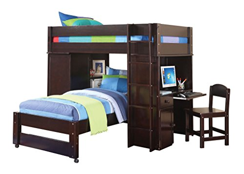 H Contemporary Style Wenge Finish Wooden Loft Twin Bed, Desk, and Chair Set ()