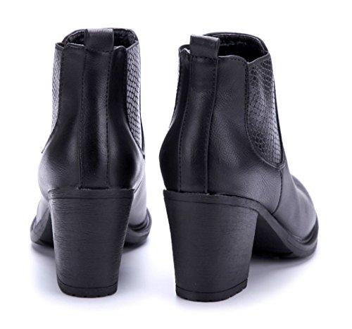 Schuhtempel24 Damen Schuhe Klassische Stiefeletten Stiefel Boots Blockabsatz 7 cm Schwarz