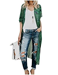 Freely Women's Cover up Rash Guards Open Front Floral Printing Chiffon Kimono Blouse