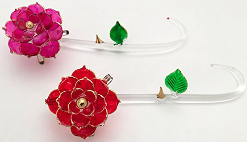 One Red Rose Stem One Pink Rose Stems Glass Crystal Collectable #C40