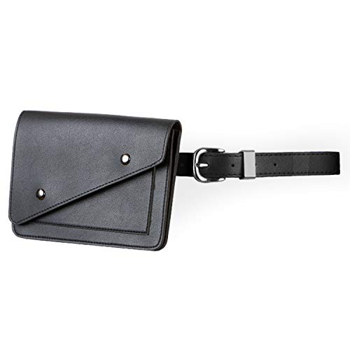 JASGOOD Women Leather Fanny Pack Waist Bag Travel Pouch/Purse with Removable Leather Belt Bag ()