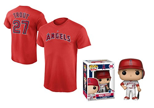 Outerstuff Mike Trout Los Angeles Angels of Anaheim #27 Youth Player T-Shirt with Trout Figure (Youth Large 14/16)