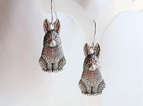 - Bunny Rabbit Earrings in Antique Silver Plated Brass Easter Earrings