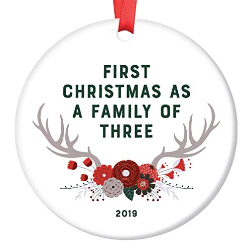 New Baby Gift 2019 Ornament Dated First Christmas Family of Three 1st Time Mom Dad Parents Newborn Present Shower Sprinkle Woodland Theme Boho Floral Antlers Glossy Ceramic 3