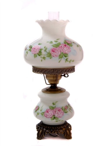 21 in. Hand Painted Dianna Floral Hurricane Table Lamp