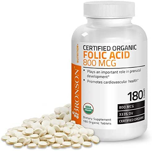 Bronson Organic Folic Acid (Folate) 800 mcg USDA Certified Natural Folate from Lemon Peel 180 Tablets