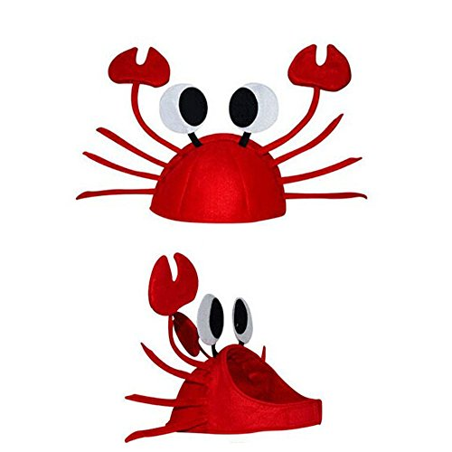 Leoy88 Xmas Christmas Funny Cute Red Crab Hat Party Costume Free Size Gift Present (A)